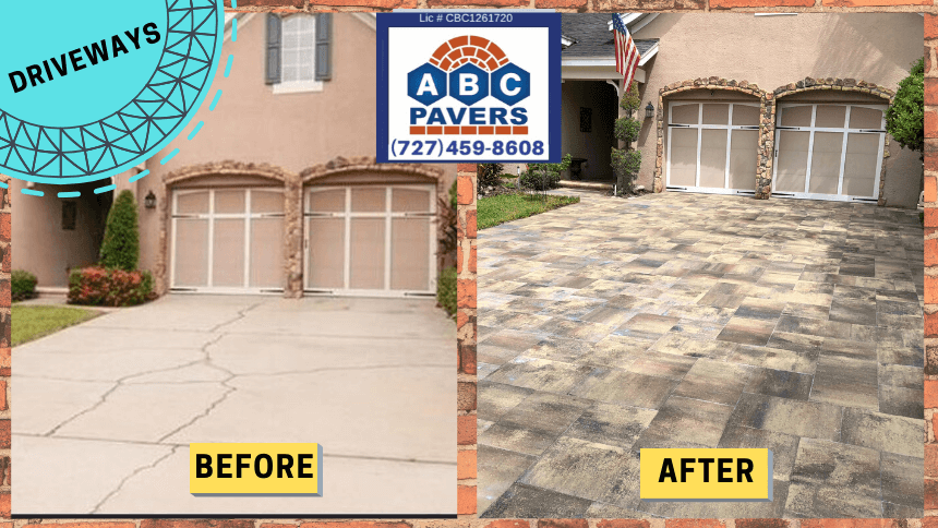 Brick-Pavers-Driveway-installed-by ABC-Pavers-replacing-cracked-concrete-before-after-2